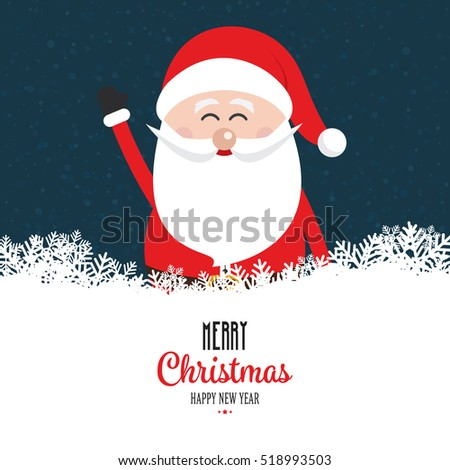 santa claus wave happy snowy night background
