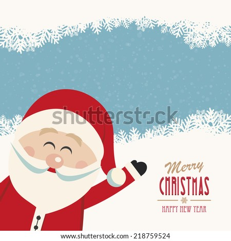 santa claus wave side vintage merry christmas - stock vector
