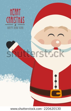 santa claus wave side vintage winter background - stock vector