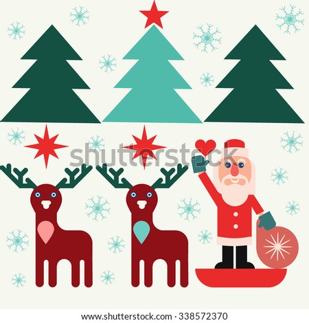 Santa Claus with a bag of gifts in a sleigh with reindeer. Christmas trees, snowflakes and stars, flat design pictrure - stock vector