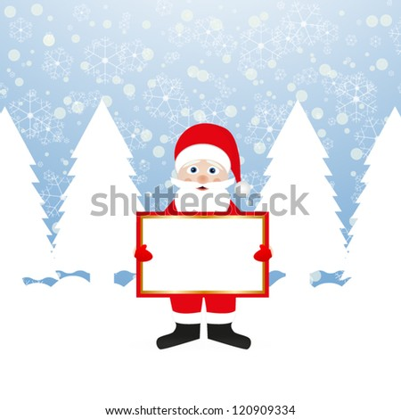 Santa Claus with a banner in his hands in a fairy forest - stock vector
