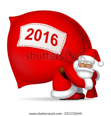 Santa Claus with a big red sack. New Year 2016 symbol. Vector illustration - stock vector