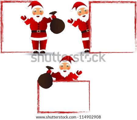 Santa Claus with a blank board