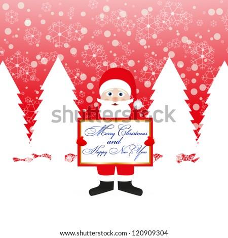 Santa Claus with a congratulatory banner in hands - stock vector