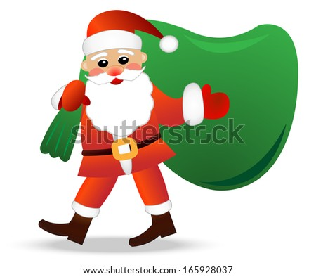 Santa claus with a sack on a white background,  vector  illustration