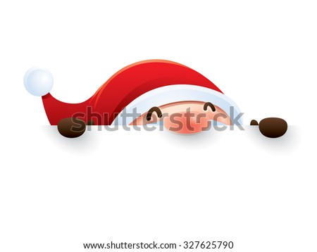 Santa Claus with big sign - stock vector