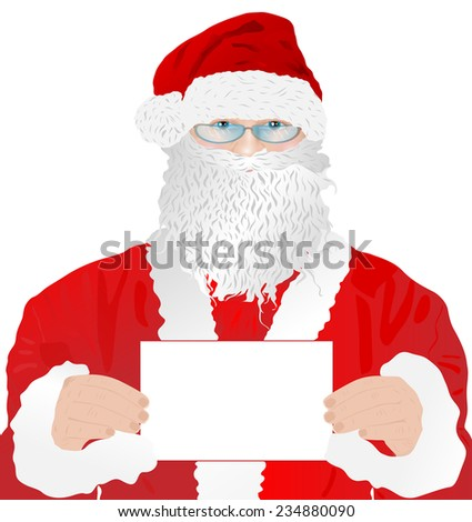 Santa Claus with blank white card portrait. EPS 10 format. - stock vector