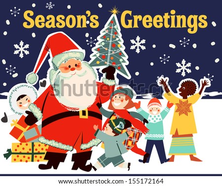 Santa Claus with Children from Around the World - stock vector