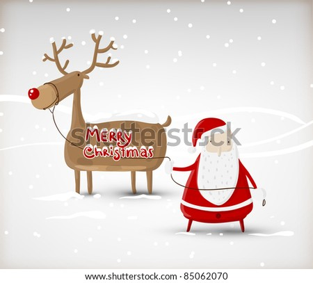 Santa Claus with christmas deer. Vector illustration for retro christmas card - stock vector
