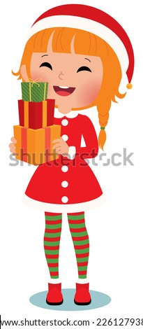 Santa Claus with christmas gifts on a white background/Child Santa Claus on a white background/Illustration Santa Claus  with a white background in full length - stock vector