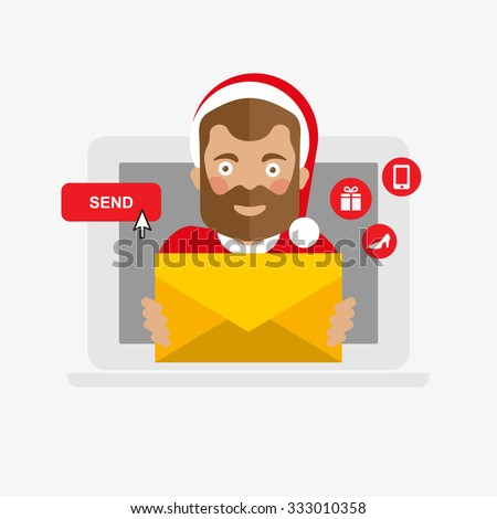 Santa Claus with christmas mail, letter - stock vector