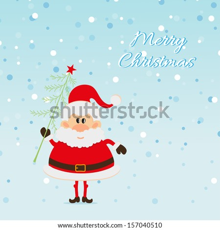 Santa Claus with Christmas tree and snow The Christmas card