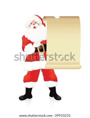 santa claus with empty board