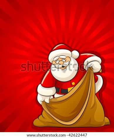 Santa Claus with empty sack for christmas gifts - vector illustration - stock vector