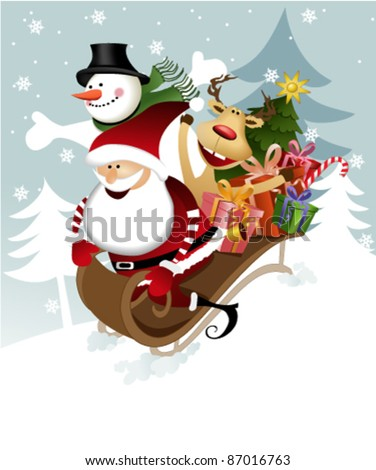 Santa Claus with friends - stock vector