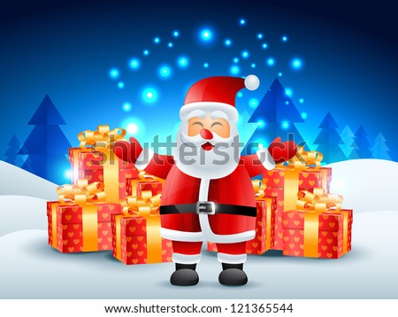 santa claus with gift illustration - stock vector