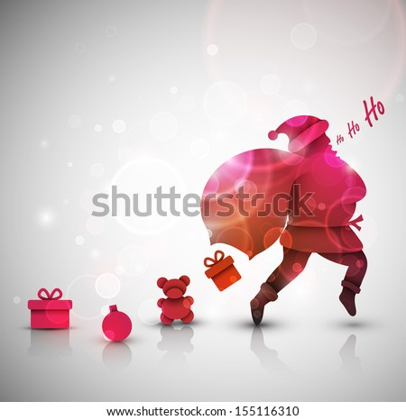 Santa Claus with gifts, Christmas background, eps 10 - stock vector