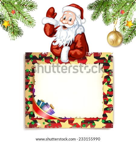 Santa Claus with green blank sign - stock vector
