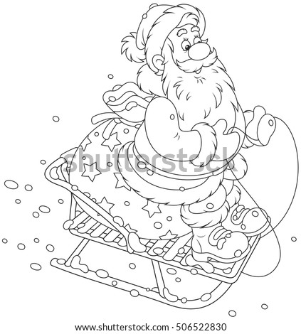 Santa Claus with his bag of Christmas gifts sledding down the snow hill