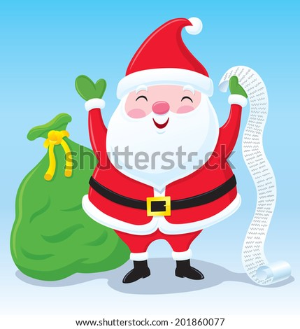 Santa Claus with His List and Bag of Presents