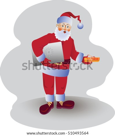 Santa Claus with laptop and gift. Vector image. Design for poster, banner, leaflets, greeting cards, flyers