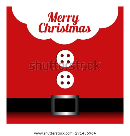 Santa Claus with Merry Christmas Label for Holiday Invitations and Greeting Cards - stock vector