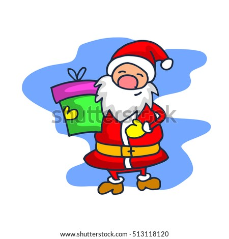 Santa Claus with one gift cartoon