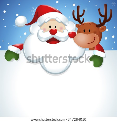 Santa Claus with reindeer, and big white sign in blue background - stock vector