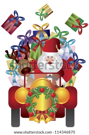 Santa Claus with Reindeer Driving Presents in Vintage Classic Car Isolated on White Background Vector Illustration - stock vector