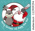 Santa Claus with reindeer. EPS 10 vector illustration for Christmas design. - stock photo