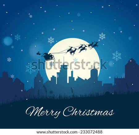 Santa Claus with Reindeer Sleigh Easy to Edit , adjust color and size.  - stock vector