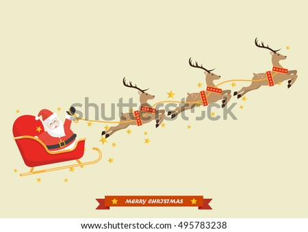 Santa Sleigh Reindeer Stock Images, Royalty-Free Images ...