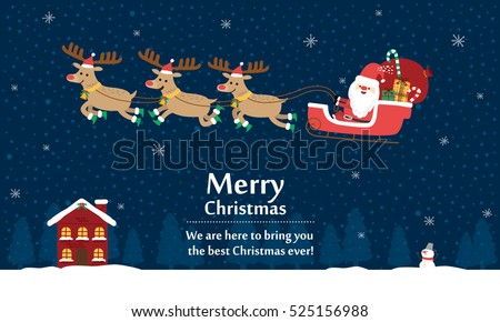 Santa Claus with Reindeer Sleigh. Vector illustration for christmas card.