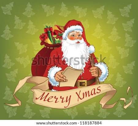 Santa Claus with retro scroll and green background - stock vector