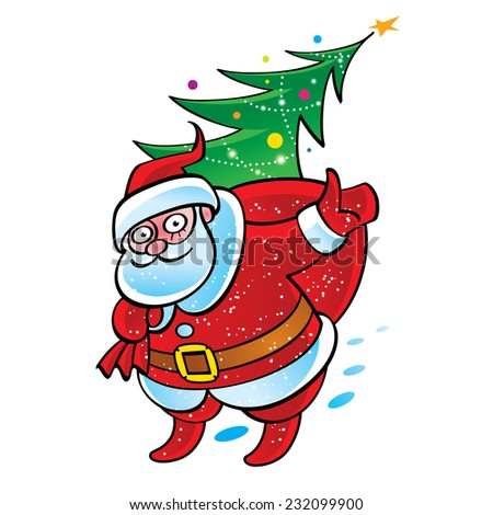 Santa Claus with sack and Christmas tree - stock vector