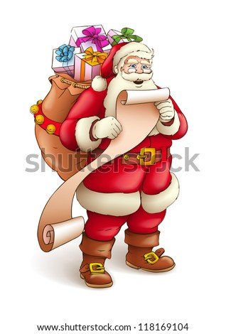 Santa Claus with sack full of gifts reading list of good kids. Vector illustration isolated on white background EPS10 - stock vector