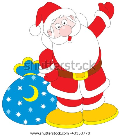 Santa Claus with sackful of presents