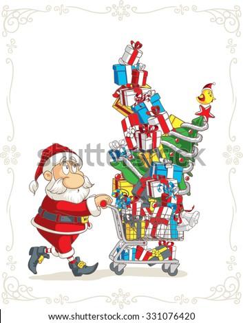 Santa Claus with Shopping Cart Vector Cartoon - Vector of Santa shopping a huge pile of Christmas gifts  - stock vector