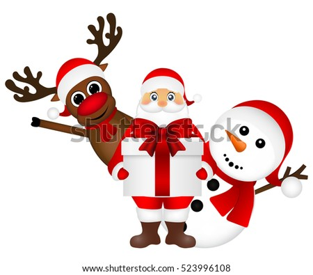 Santa Claus with snowman and reindeer cartoon