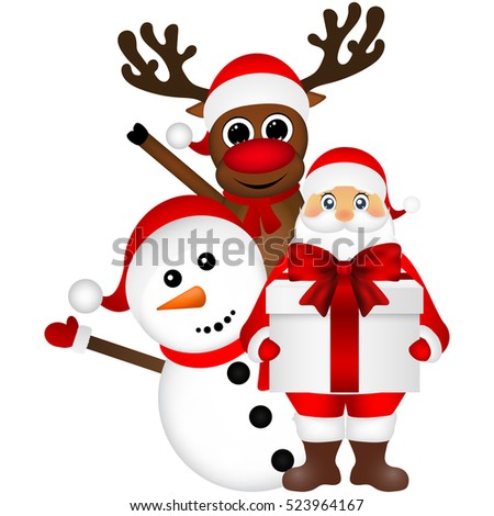 Santa Claus with snowman and reindeer cartoon with a gift vector
