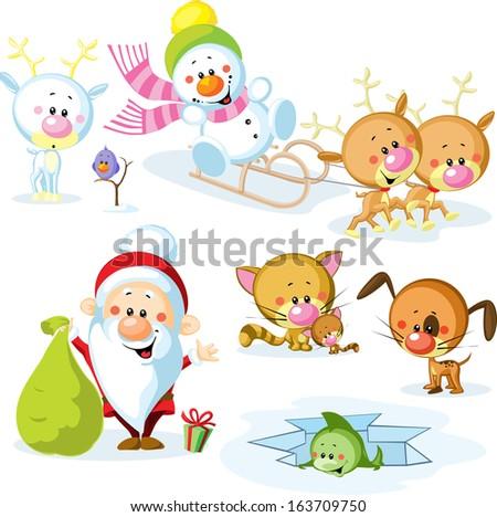 Santa Claus with snowman, cute Christmas animals - reindeer, cat, dog, bird and fish - stock vector