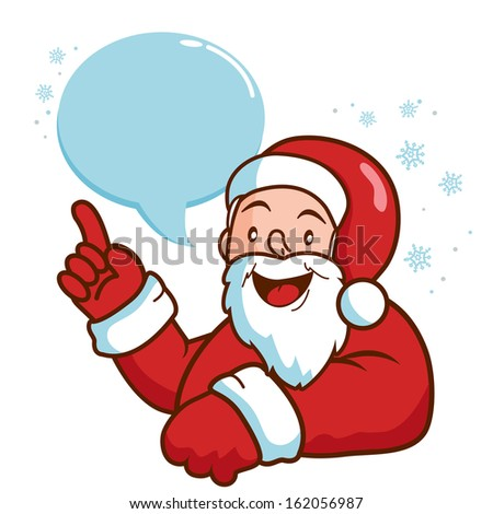 Santa Claus with speech bubble talking.