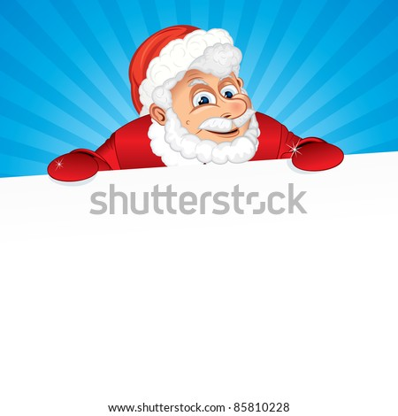 Santa Claus with White Sign - stock vector