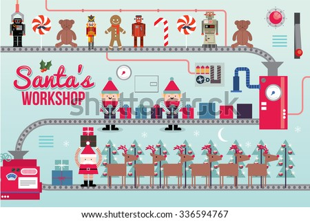 santa claus workshop vector/illustration