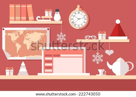 santa claus workstation on red background - stock vector
