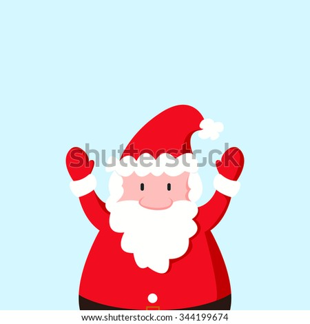 Santa Clause cartoon on blue background. For christmas, new year design greeting card - stock vector