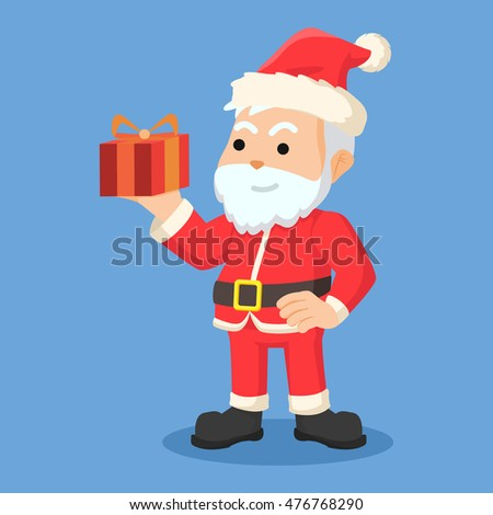 santa clause holding a gift