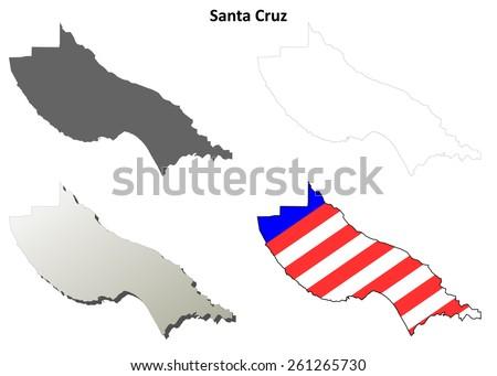 Santa Cruz County (California) outline map set - stock vector