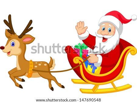 Santa drives his sleigh - stock vector