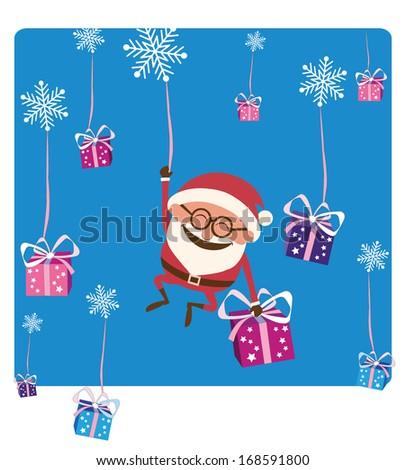 Santa Falling with Christmas Gifts - stock vector